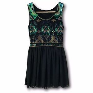 Miami For Francesca Aztec Sequin Flowy Dress